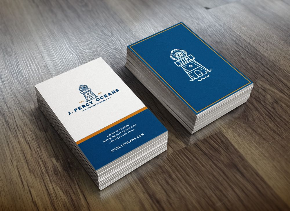 Business Card layout and logo work for J Percy Oceans. Old diver ...