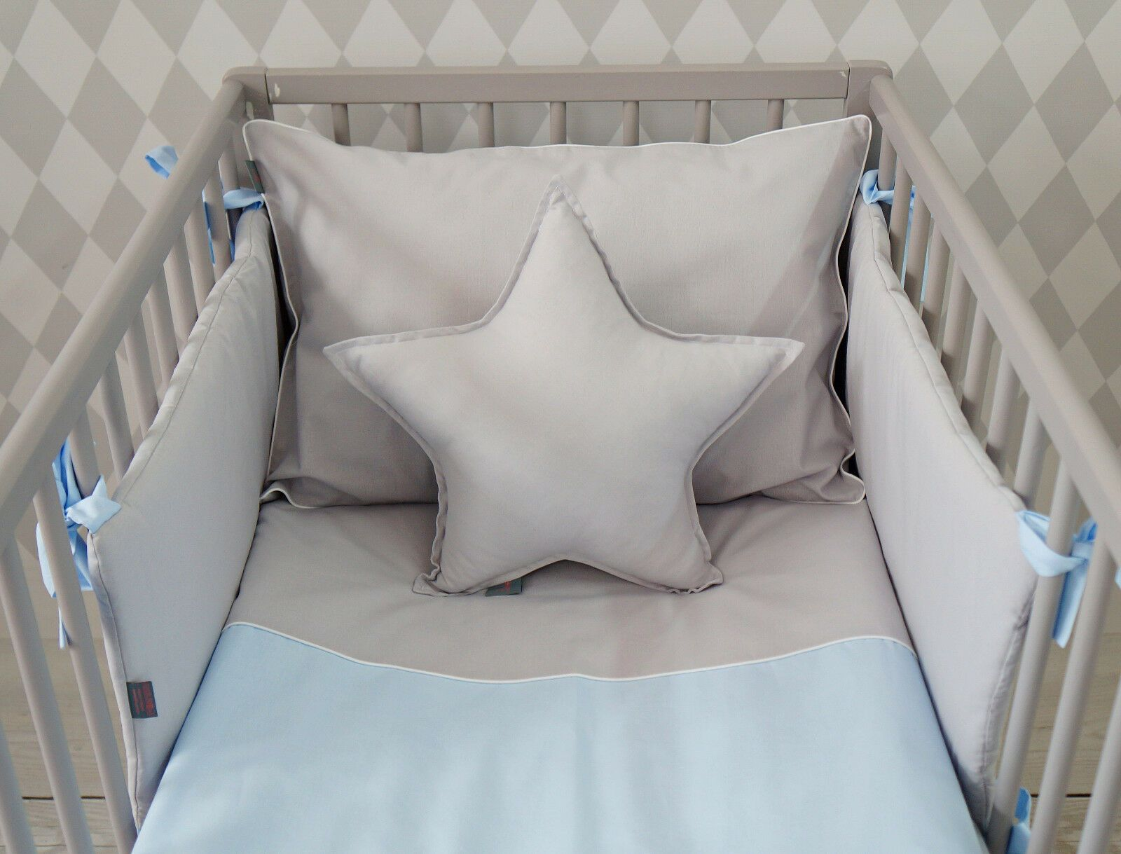 New Luxury Baby Boy Bedding Set For Cot Bed Baby Blue And Grey