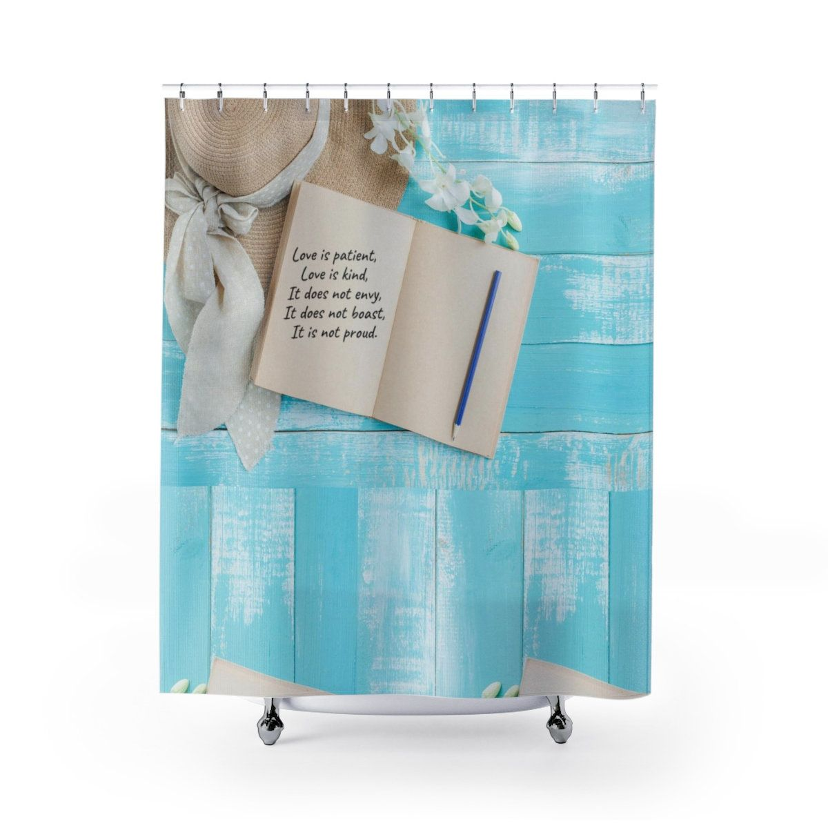Love Shower Curtain Scripture Shower Curtain Bible Verse Shower