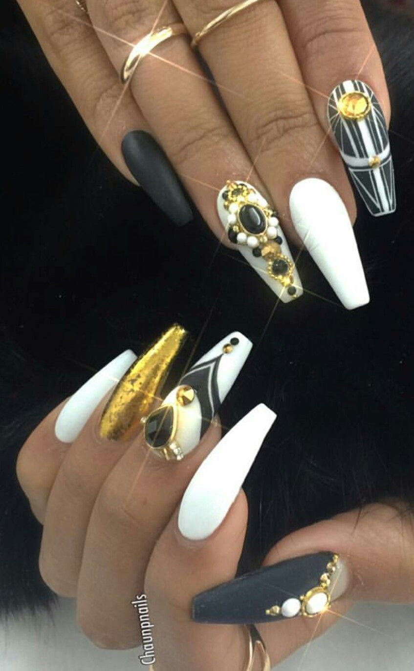White Black Gold Rhinestone Nails Nailart Rhinestone Nails