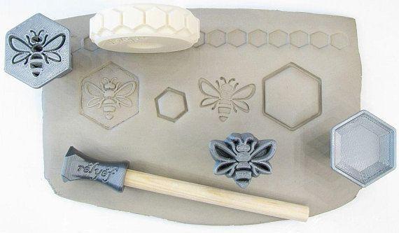 Pottery texturing ceramic clay tools: Rélyéf bee set