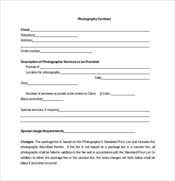 Portrait Photography Contract Word Template Free Download Portrait