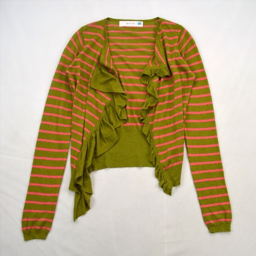 19.79$  Buy here - http://viasm.justgood.pw/vig/item.php?t=gxq6f8g2627 - SPARROW Green & Pink Striped Linen Cotton Knit Cardigan Sweater Shirt Top XS 19.79$