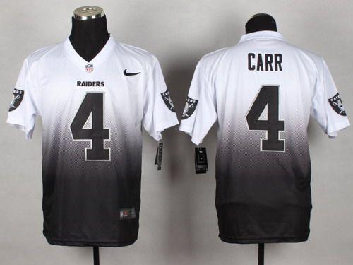 89b77f725 Nike Oakland Raiders #4 Derek Carr White/Black Fadeaway Elite Jersey ...