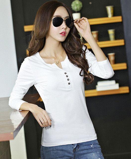 5bfe952baf0 Basic T Shirt Women Long Sleeve Womens Tops 2017 Spring Autumn Tee Shirt  Women Korean Style T-Shirt Cotton New Plus Size Tshirt