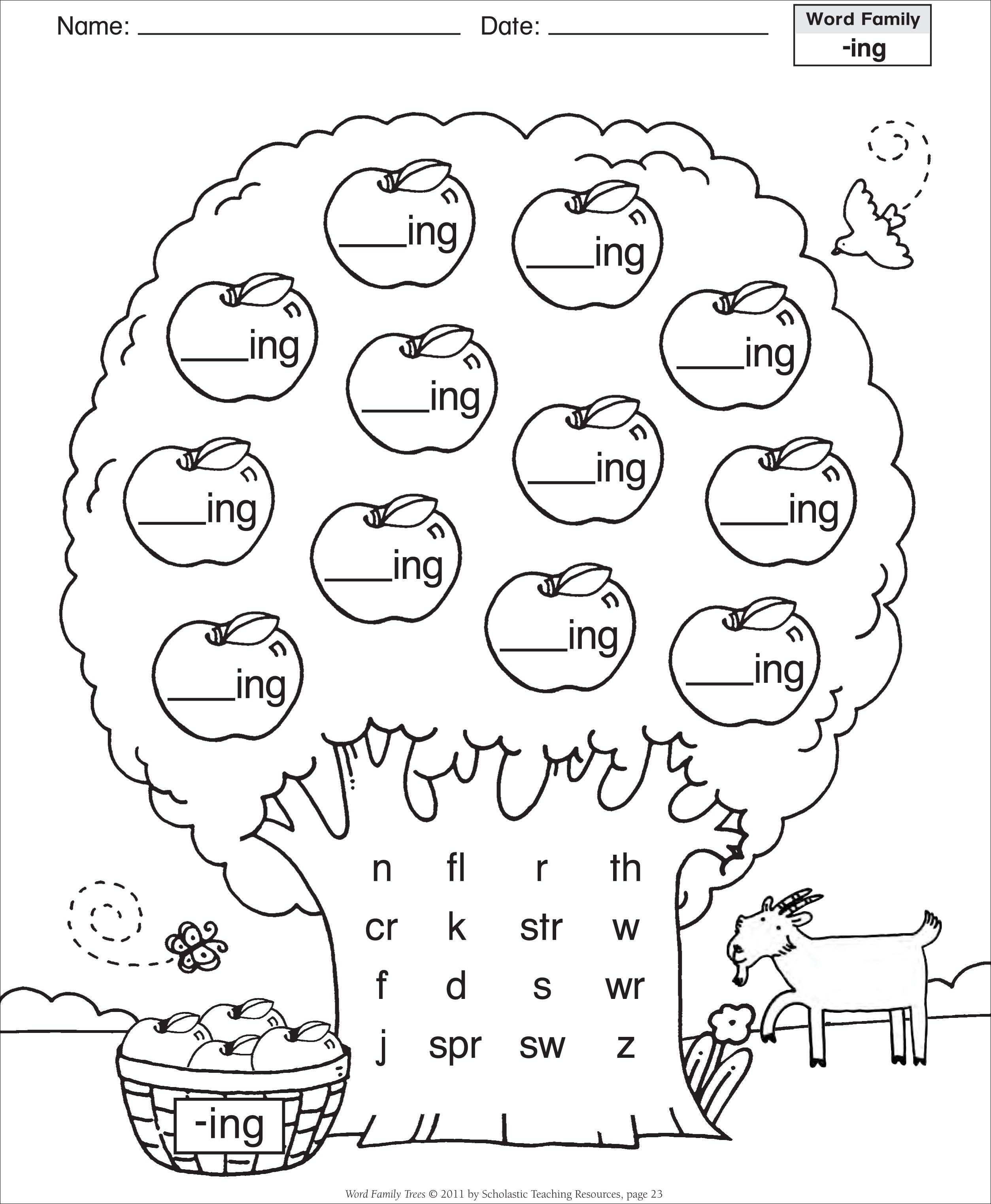 Ink Word Family Worksheet