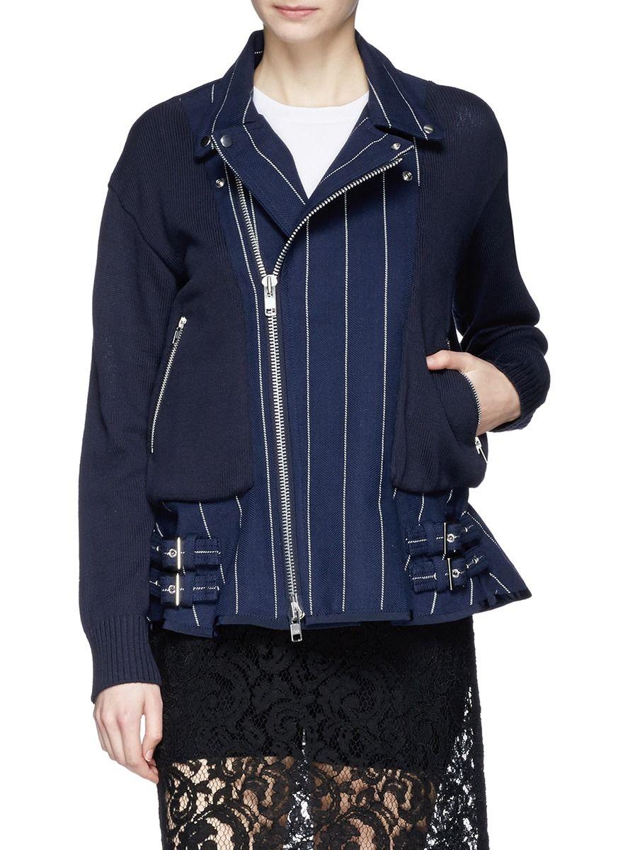 fc193e128689 SACAI LUCK - Pinstripe peplum hem knit jacket - on SALE