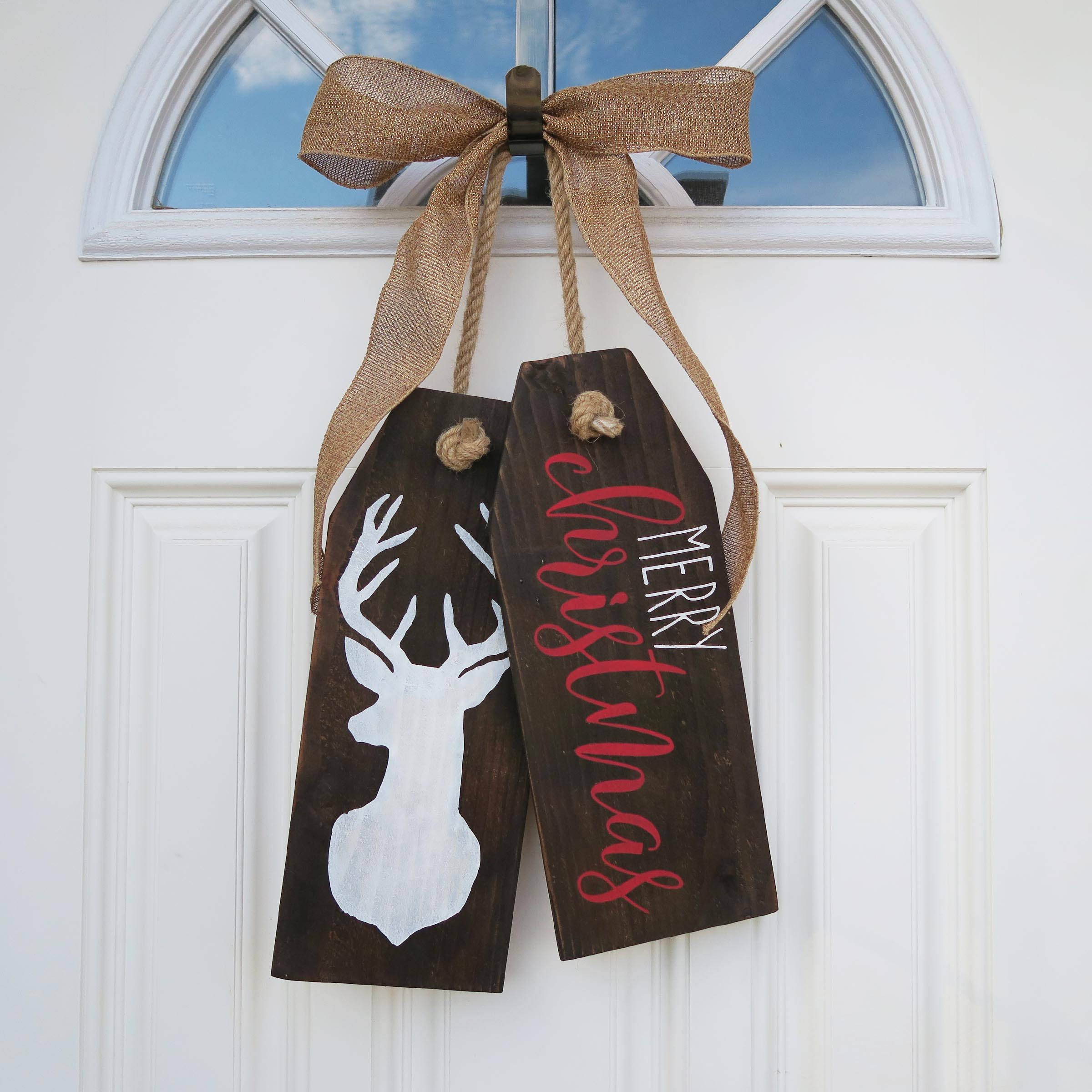 Merry Christmas Wooden Door Tag Door Hanger Christmas