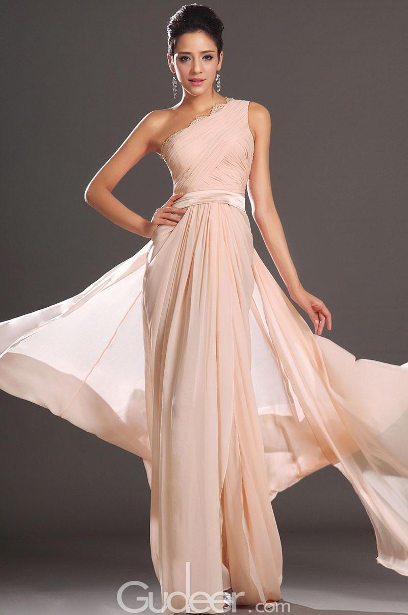 One Shoulder Pleated C Blush Chiffon Prom Dress