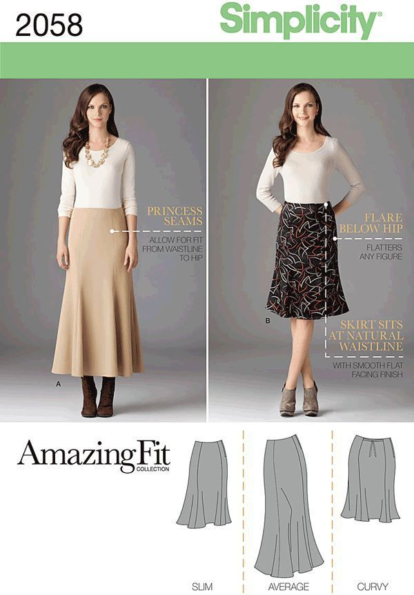 Simplicity Amazing Fit Misses/Plus Size Sewing Pattern 2058 Skirt ...