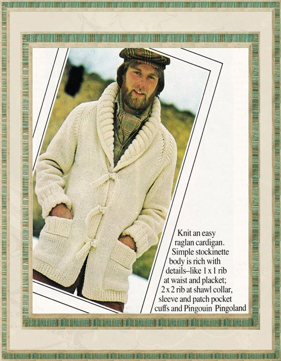 Vintage Mens Sweater Pattern Shawl Collar By Grandmahaditgoinon My
