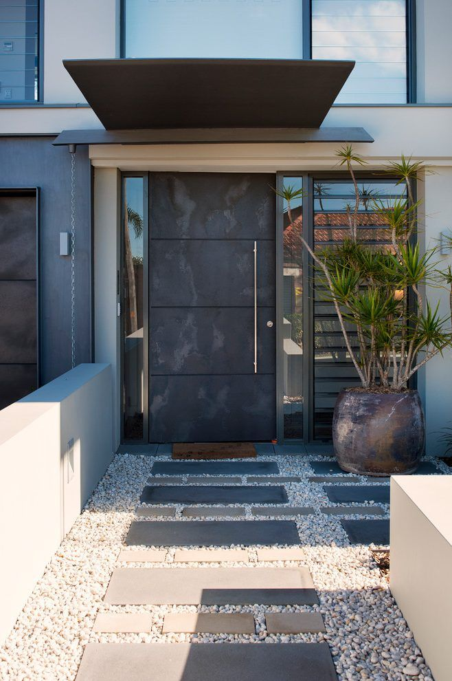 Industrial front door entry contemporary with side lights - Exterior doors that open to the outside ...