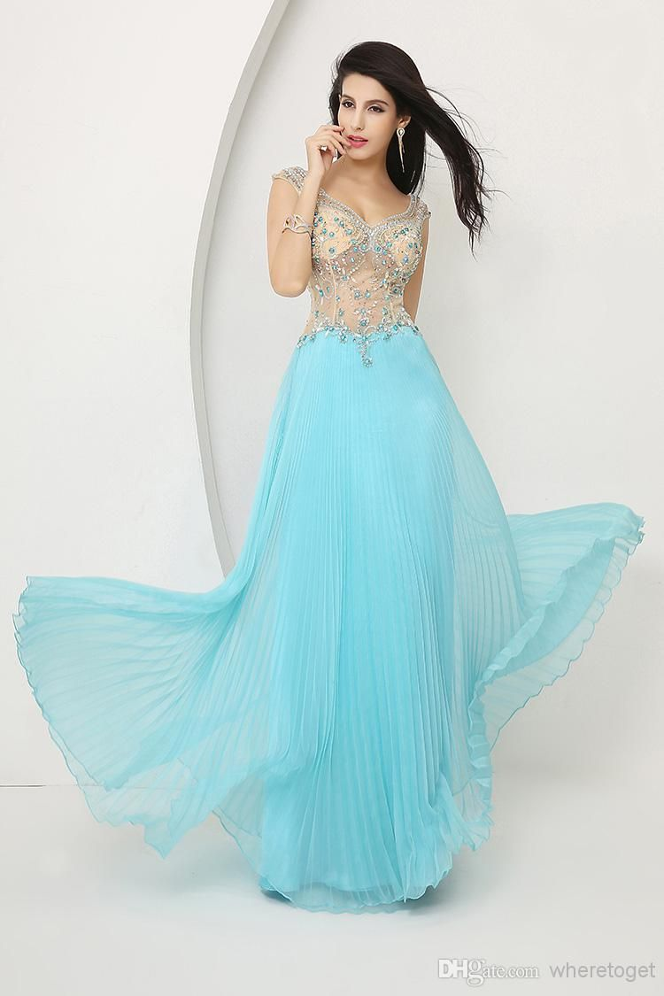 V-neck In Stock Chiffon Prom Dresses Floor length Hot Sheer See ...