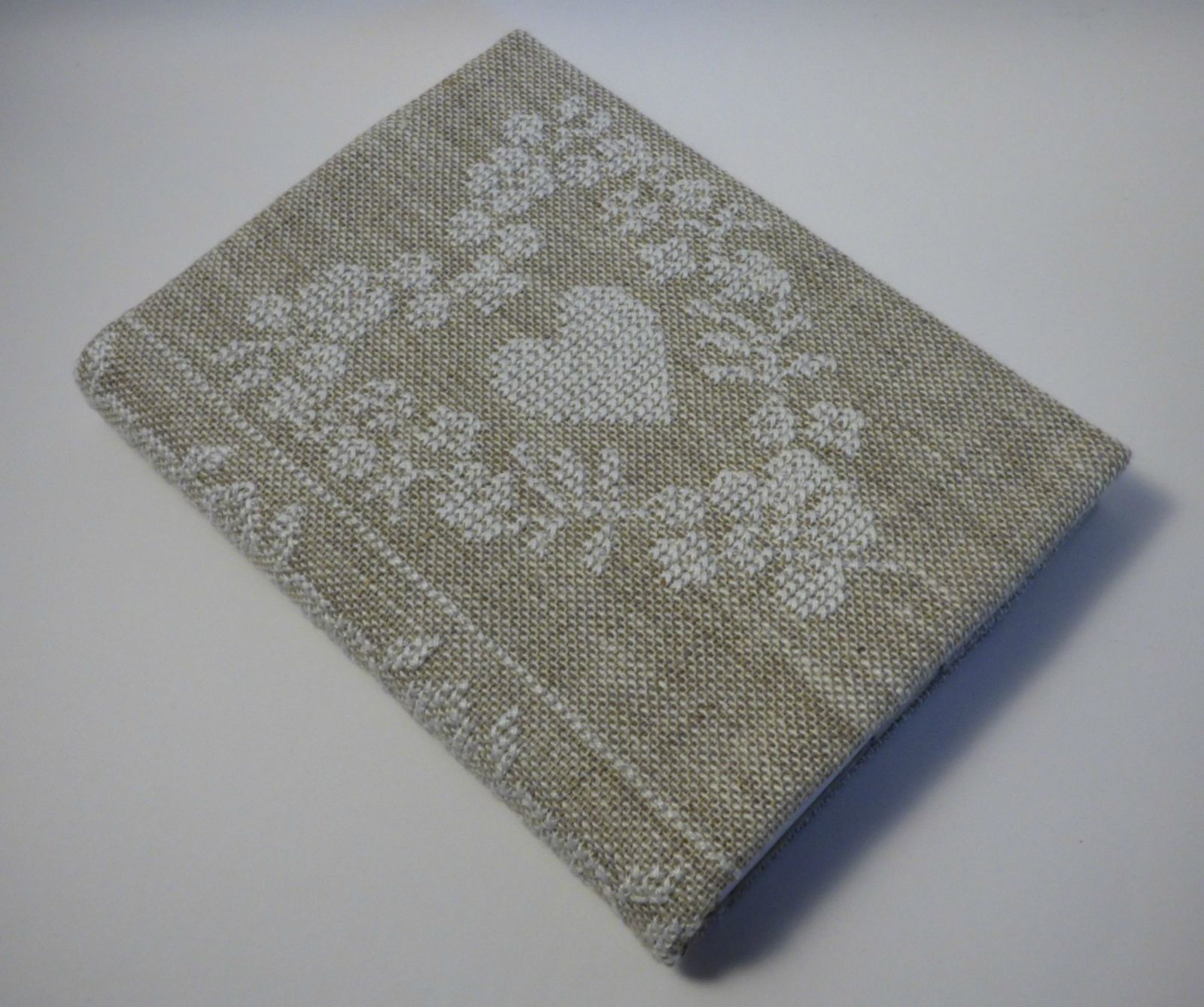 Cross Stitch A6 Journal & Cover - White Floral Heart | Felt