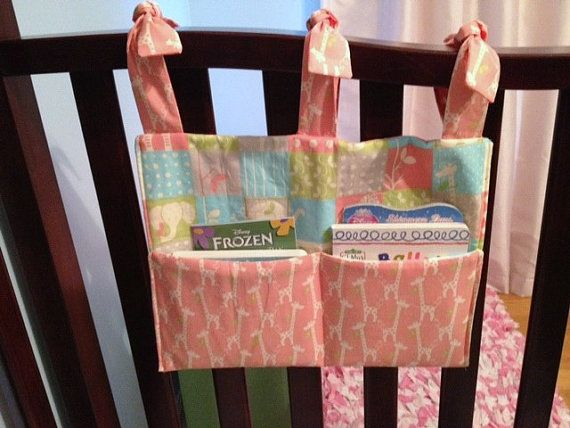 Book Organizer Adorable Baby Fabric Crib Pockets by hootsngiggles