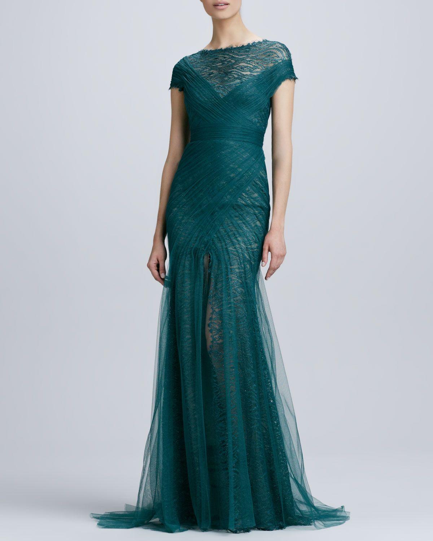 118e49d07f6 Monique Lhuillier Short-Sleeve Lace   Tulle Gown - Neiman Marcus ...