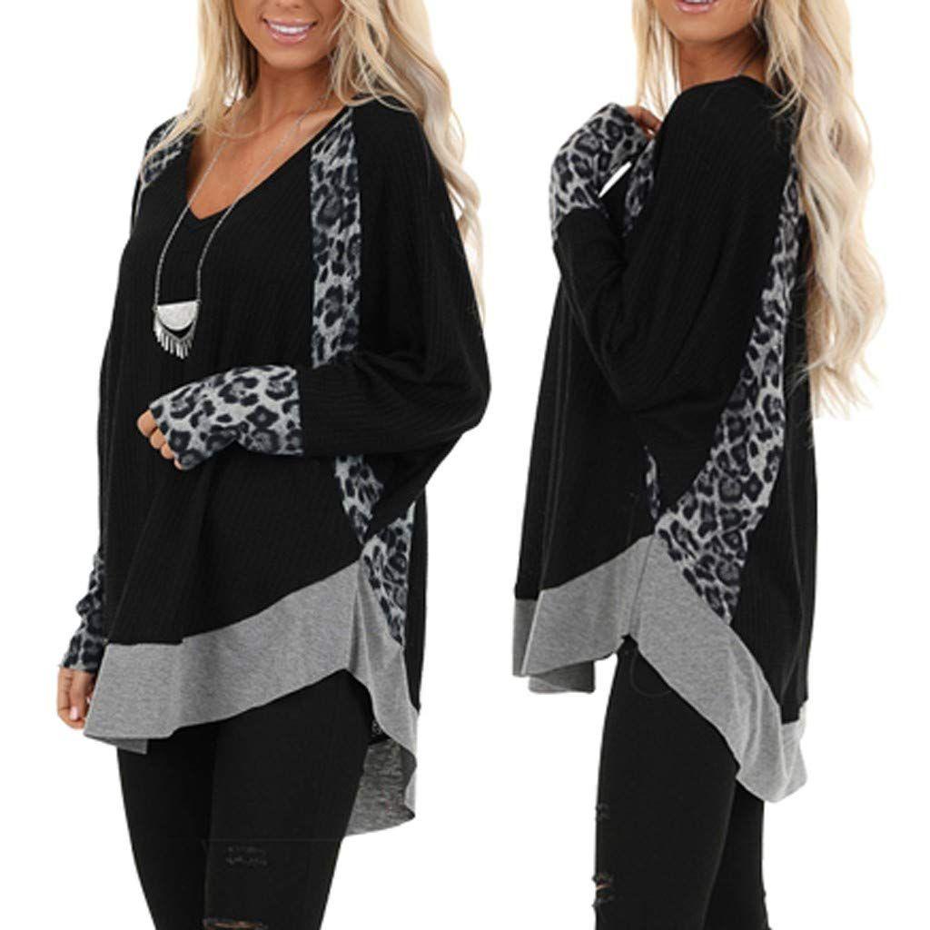 Mlide Womens Pullover Fashion Leopard Print Loose V-Neck Lrregular Hem Blouse Tee Shiring(S-XXXL), #Ad #Leopard, #Print, #Loose, #Fashion