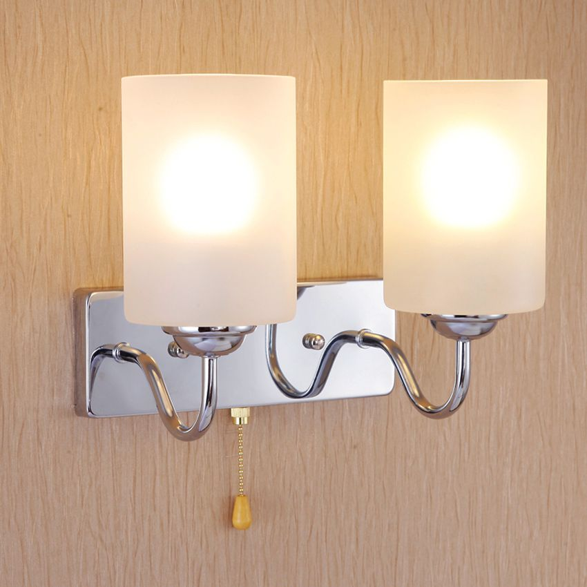 Modern Simple Bedroom Wall Lamp 1 2 Arm Wrought Iron Glass