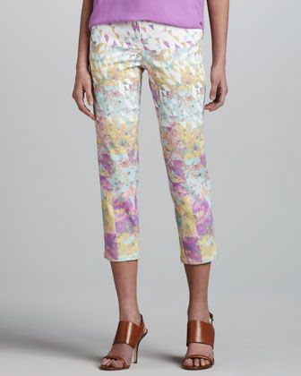 Floral-Print Jeans  by Tibi