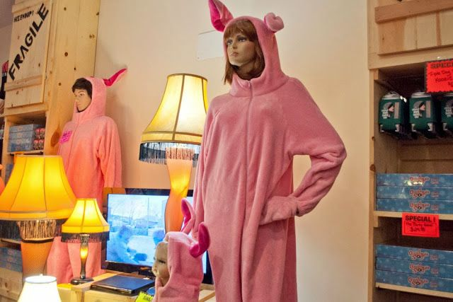 bunny pajamas and leg lamps at the gift shop for a christmas story house in cleveland