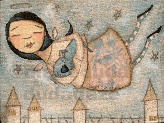 Dies ist ein Druck von meinem original, Mischtechnik-Gemälde, Lange et le Chien Bleu. Der Engel und der blaue Hund gedruckt auf höchste Qualität 61#