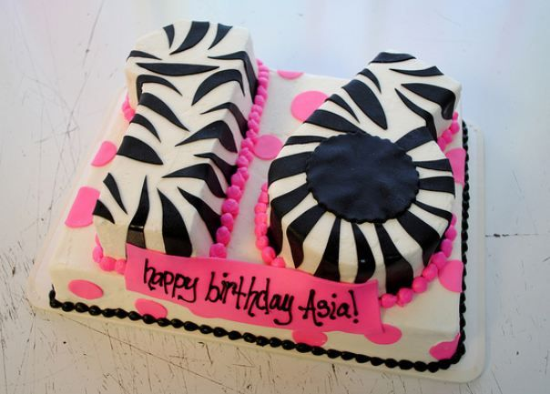 Sweet  Birthday Cake In The Shape Of Number And Zebra Stripes - Sweet 16 birthday cakes