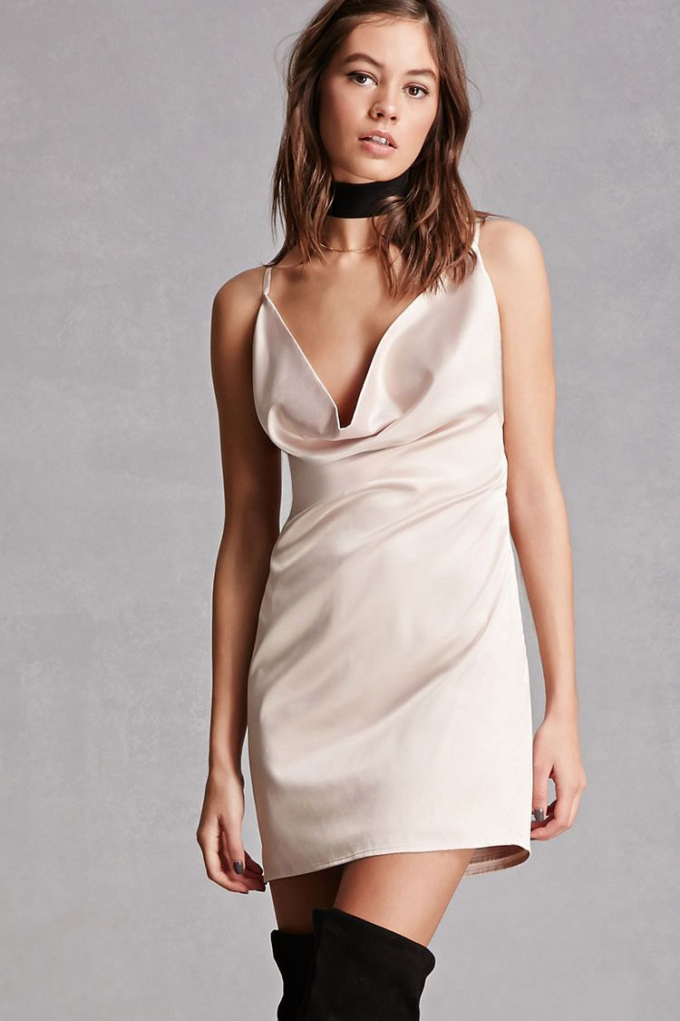Satin cowl neck mini dress th birthday party dress ideas