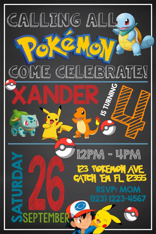 POKEMON INVITATIONPokemon Birthday Invitation Pokemon Invite Thank You Go