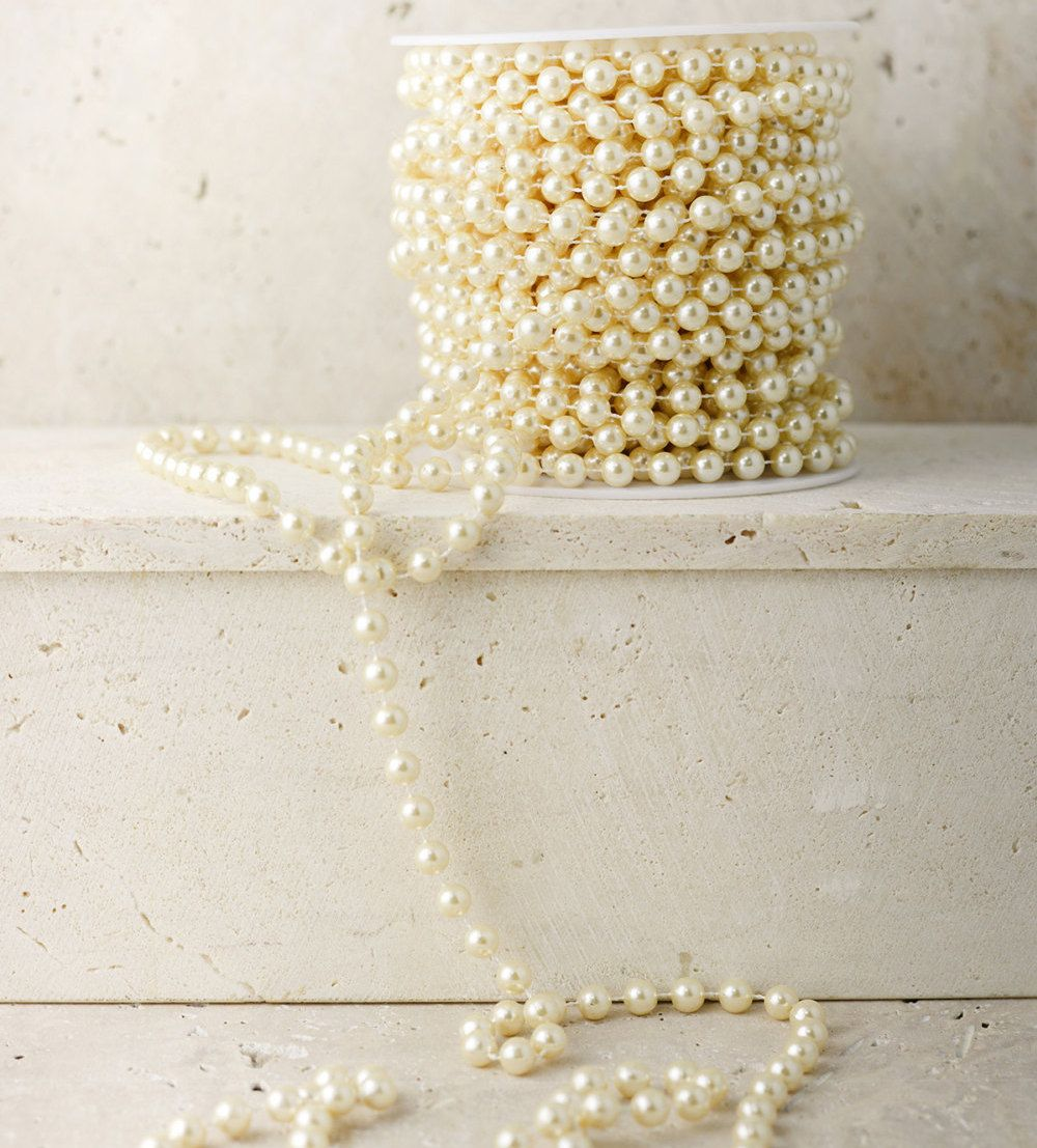 PEARL GARLAND Spool Wedding Centerpiece Tree Gems Ivory Bridal ...