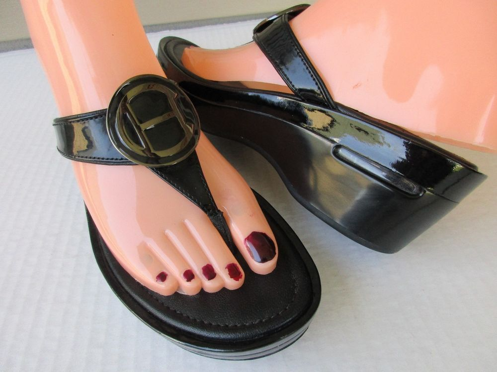 Cole Haan Nike air women sandals size 7.5 B Patent Black