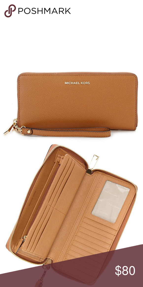 81c0a55dcc1c Michael Kors Jet Set Travel Continental Wallet 100% Leather Imported  Saffiano leather with gold tone