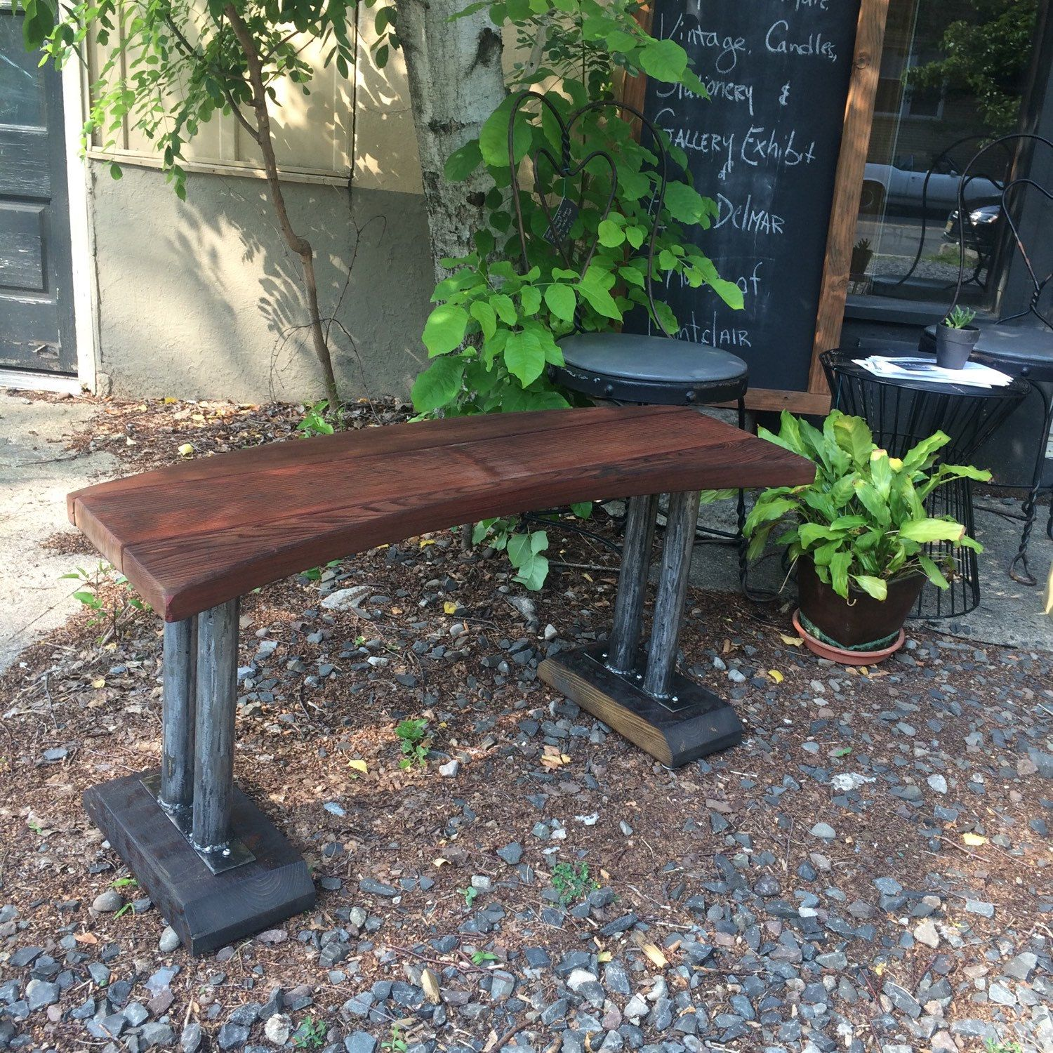 Super Industrial Bench With Curved Wood Top And Metal Pole Legs By Machost Co Dining Chair Design Ideas Machostcouk