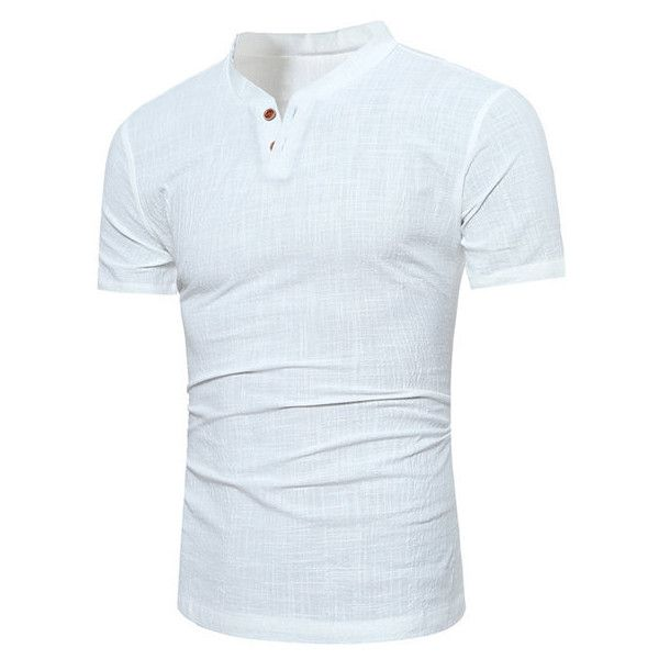 c0504930d s casual linen v-neck chinese collar short sleeve t-shirt fashion s (435  UAH) ❤ liked on Polyvore featuring men's fashion, men's clothing, men's  shirts, ...