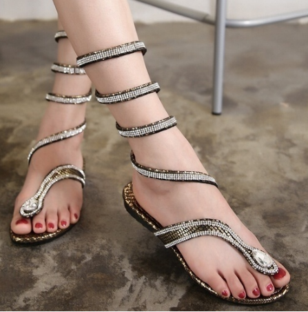 High Quality Leather Strappy Roman Gladiator Sandals Flat Shoes Summer  Flats Flip Flop