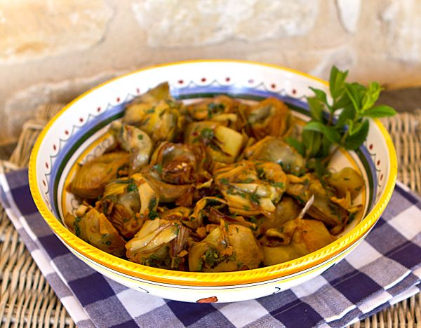 Italian Food Forever » Golden Braised Artichokes With Garlic & Mint