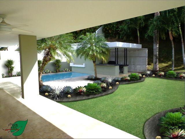 Dise os del jard n en zonas tropicales tropical patios for Pileta en patio pequeno