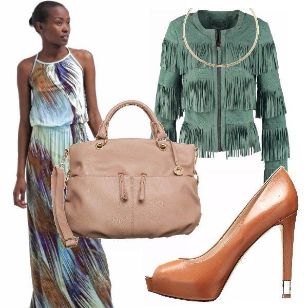 Stasera ho voglia di un gelato alla menta...che ne dite di questo look sbarazzino e colorato? Un vestito lungo con vari colori, una giacca verde menta con frange, una décolleté cuoio, una borsa beige una collana rigida! Wow!
