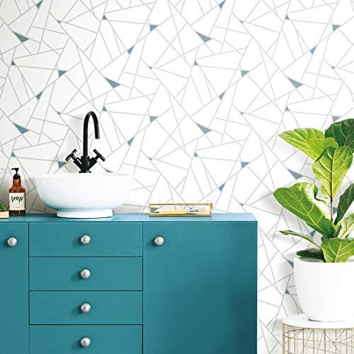 Roommates Rmk11269wp Teal Fracture Peel And Stick Wallpaper Wallpaper Amazon Canada In 2020 Peel And Stick Wallpaper Wall Coverings Wallpaper Roll