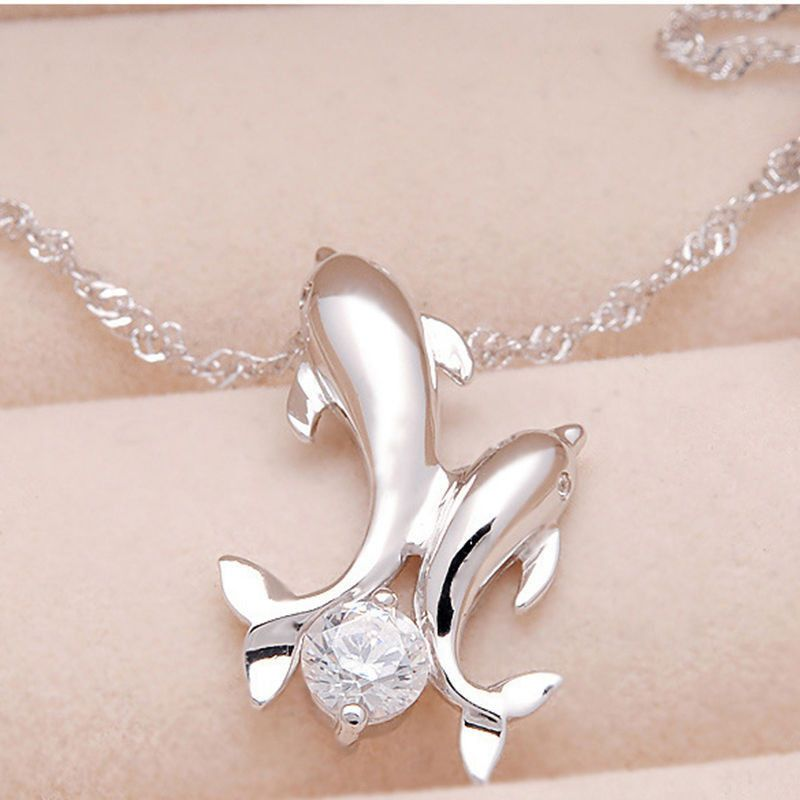 Silver Rhinestone Dolphin Necklace Dolphin necklace