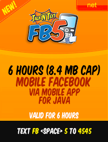 FB5 TNT P5.00 for 6 hours of Facebook connection, cap at