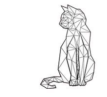 Cat sitting out of geometric shapes