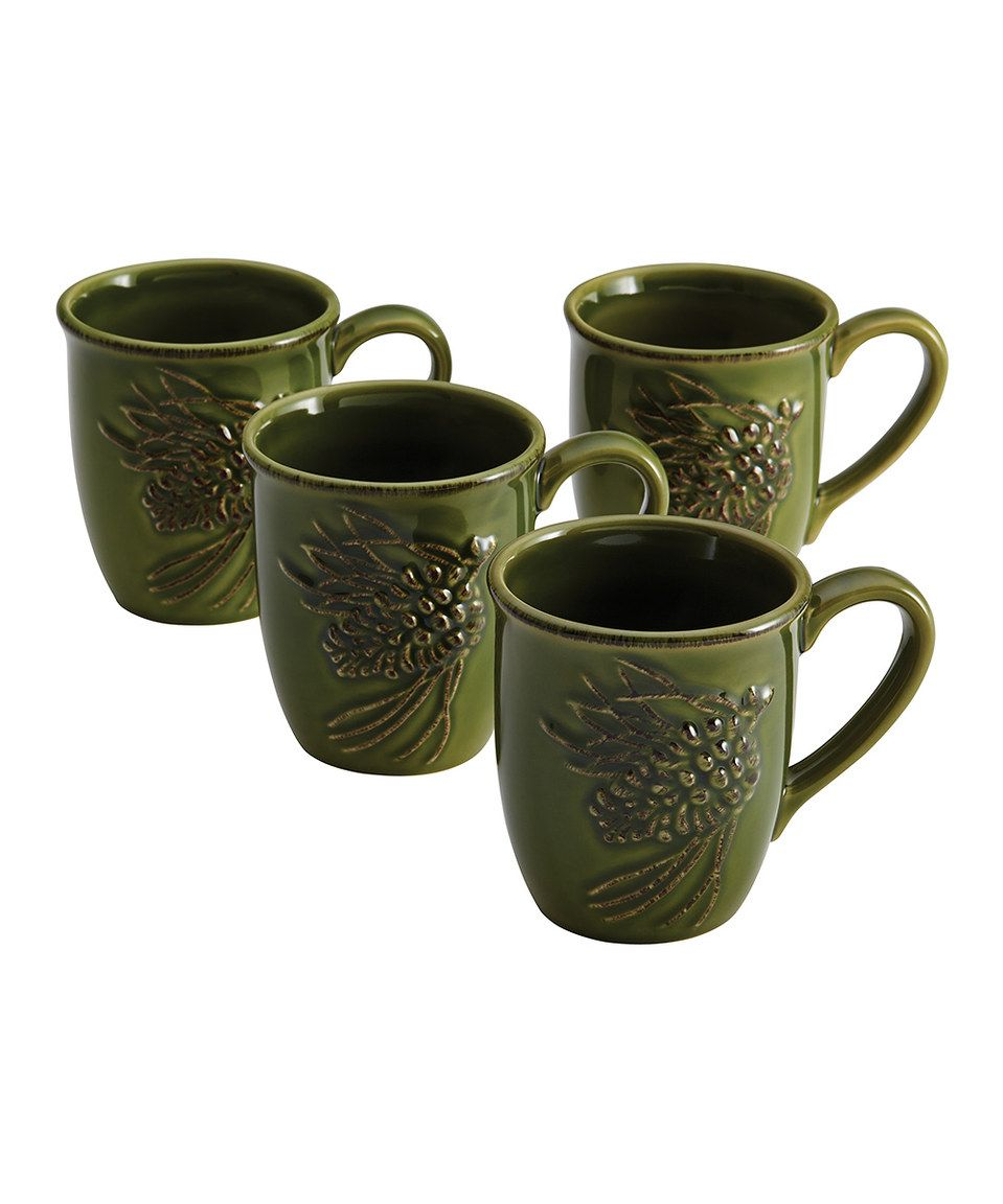 Green Southern Pine Mug Set of Four by Paula Deen zulily