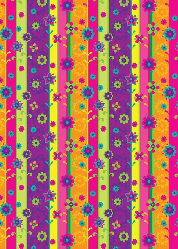Flores y rayas verticales papeles decorativo flores en - Papel pared rayas verticales ...