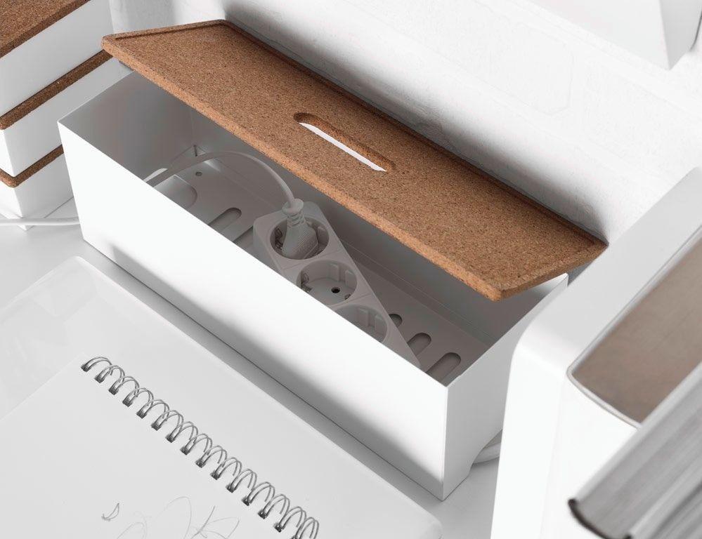 Ikea Cable Management Box Kvissle White Coated Steel Cork Media Desk Organizer Ikea Arbetsrum Forvaringslador