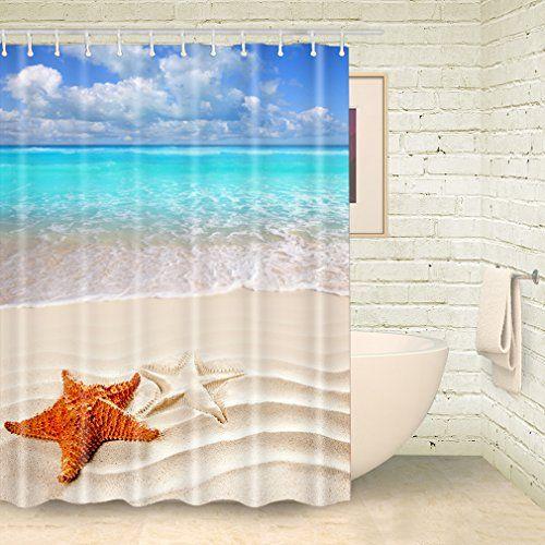 Foog Sea Beach Shower Curtains Starfish Shower Curtain Su Https Www Amazon Com Dp B01n5hdyru Ref C Beach Shower Curtains Blue Shower Curtains Beach Shower
