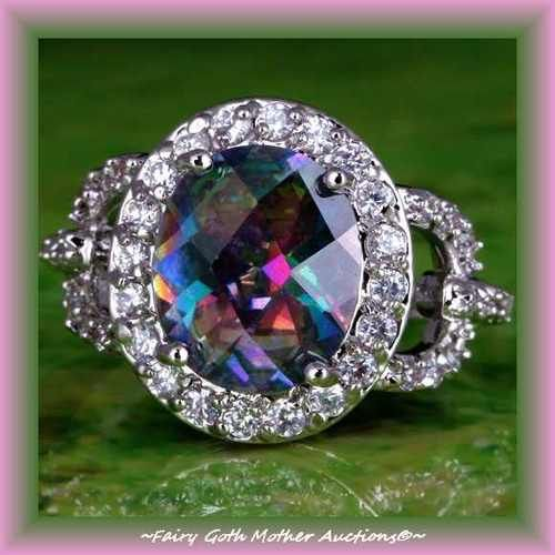 'Halo Style Rainbow & White Topaz Gemstone SS Ring Sz9' is going up for auction at 10pm Fri, Jul 26 with a starting bid of $10.