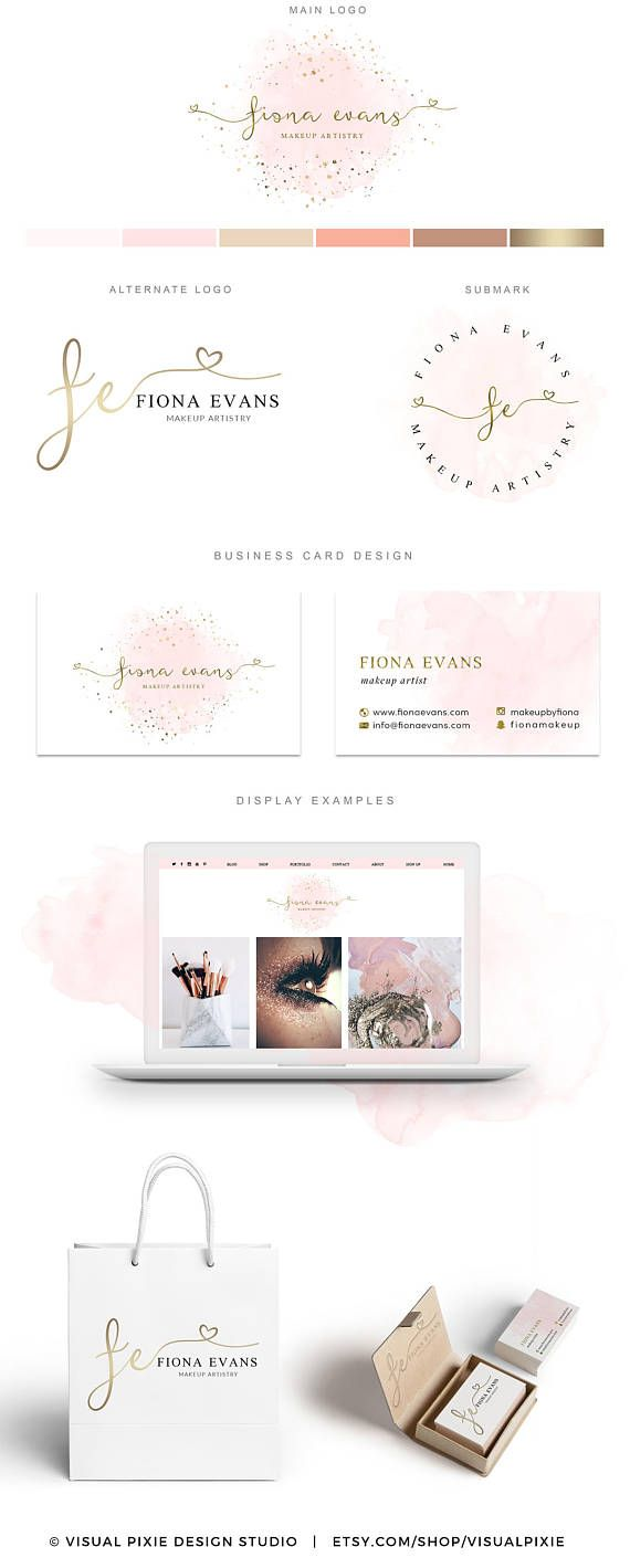 Premium Branding Package Gold Sprinkles Confetti Pink Watercolor
