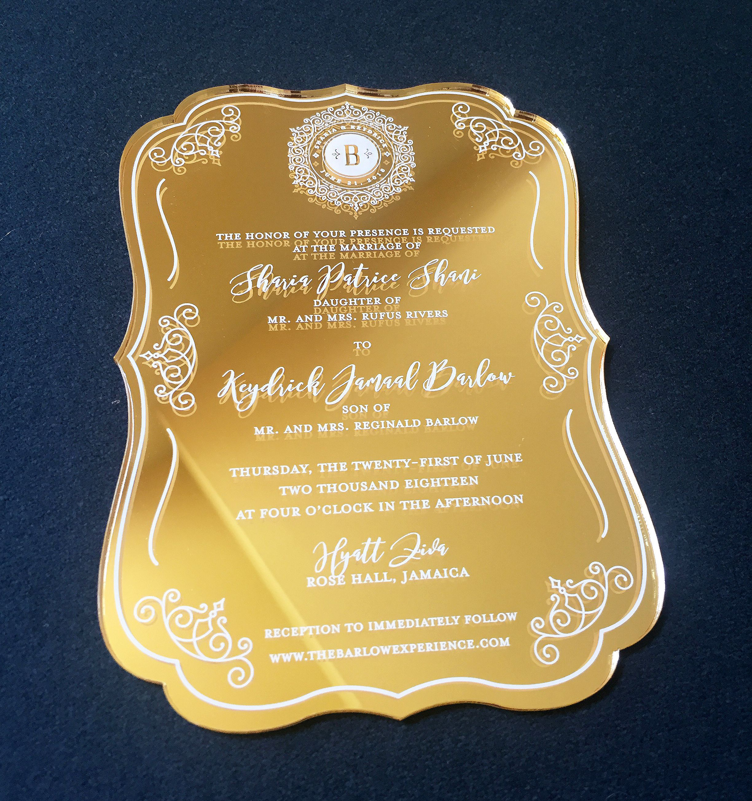 Mirrored gold acrylic invitation with white screen print. 😍 We