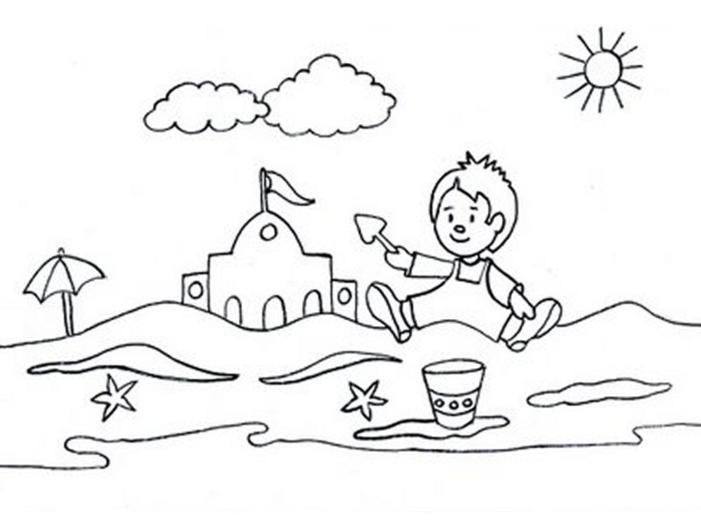 Coloring Pages Summer Season Pictures For Kids Drawing Free Beach