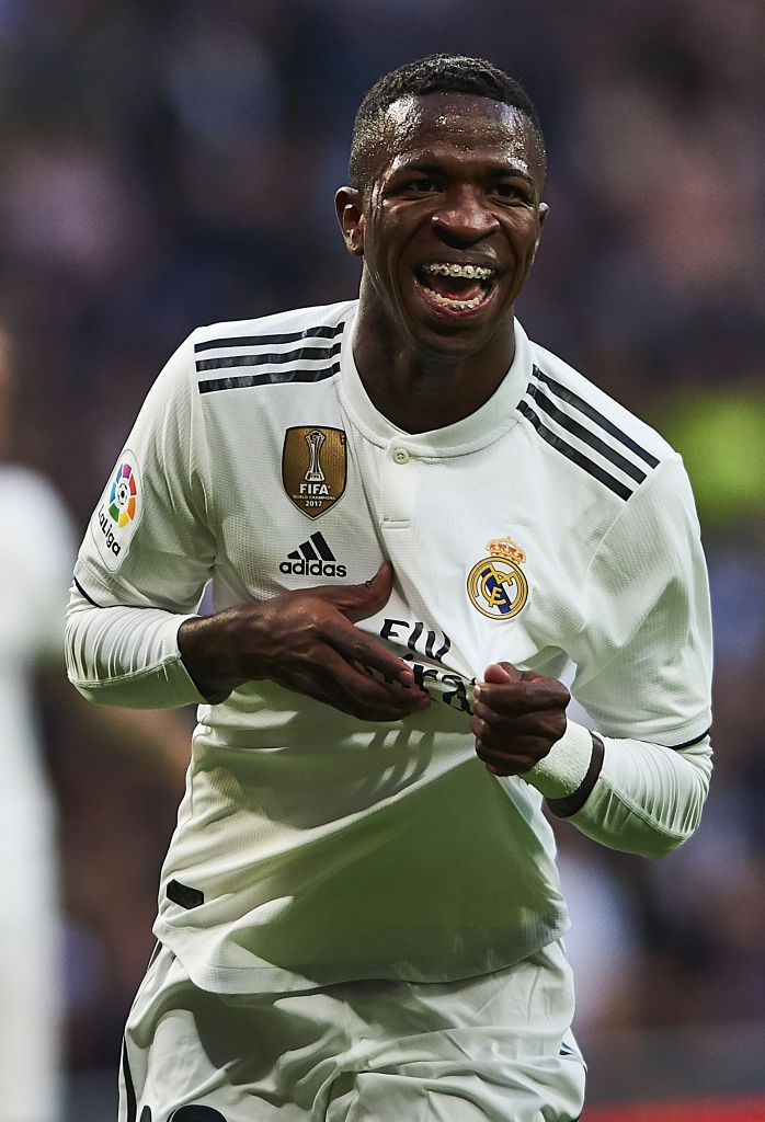 Vinicius Junior of Real Madrid celebrates scoring his team's opening...